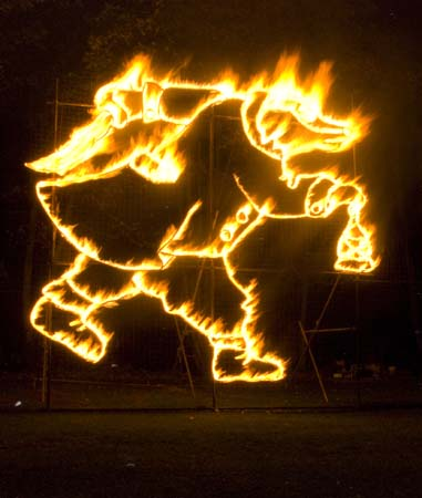Mr Badger Fire Sculpture